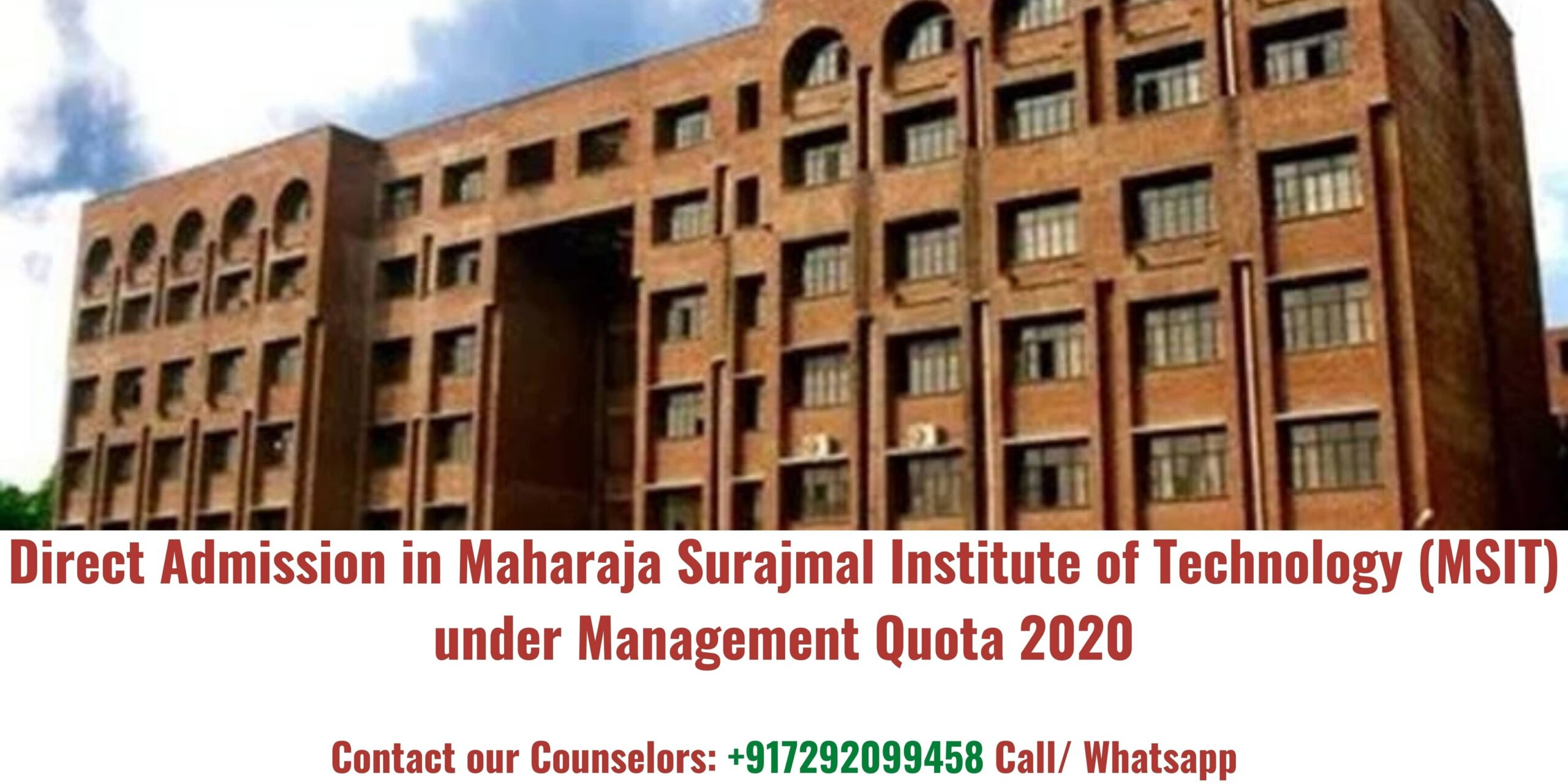 Direct Admission in Maharaja Surajmal Institute Of Technology(MSIT) Under Management Quota 2020